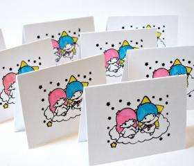Little twin star kiki and lala handmade mini cards cute mini cards Set of 6