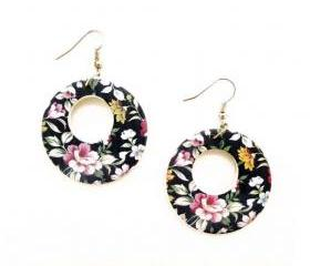 Blue Floral Drop Earrings