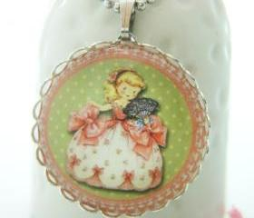 Pink Green Princess with Fan Vintage Children Girl Round Glass Necklace
