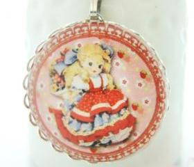 Cute Red Dress Blonde Hair Girl with Strawberry Glass Pendant Keychain