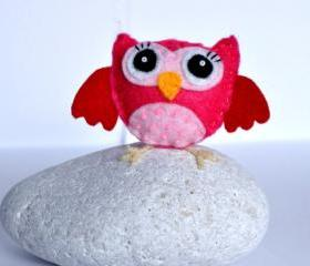 Felt brooch, pink owl, beads, gift, present