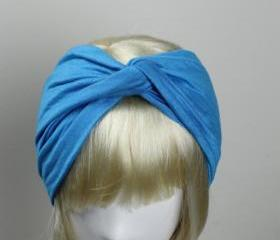 Woman handmade twist turban headband head warmer hat cap turquoise