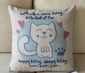 Cute Kitty Print Decorative Pillow