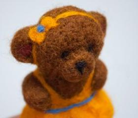 Needle Felted Brown Teddy Bear in Yellow dress magnet