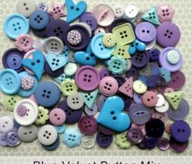 100g Blue Velvet Button Mix