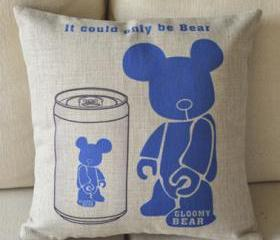 Blue Bear Print Decorative Pillow