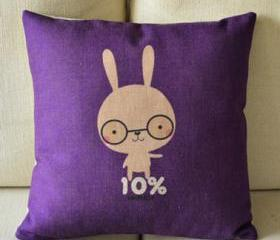 Cute Bunny Print Decorative Pillow