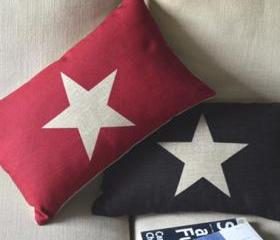 Star Print Decorative Pillow(black)