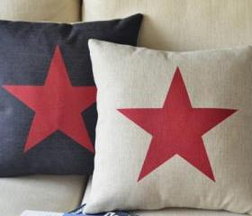 Star Print Square Decorative Pillow(white)