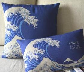 Tokyo Waves Print Decorative Pillow