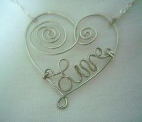Wire Wrap Heart Necklace Silver Swirl Scroll Custom Word Live Pendant