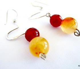 Dangle gemstone earrings, fire agate and carnelian gemstone earrings, gift under 40