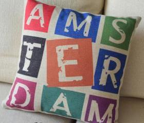Colorful Letters Decorative Pillow