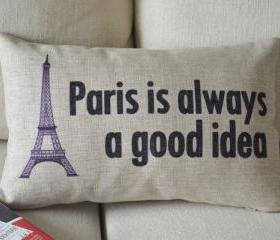 Paris Print Decorative Pillow