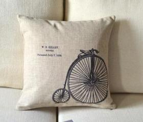 Vintage Bike Decorative Pillow