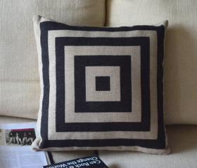 Black and White Print Decorative Pillow A-squares