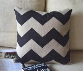 Black and White Print Decorative Pillow B-big waves
