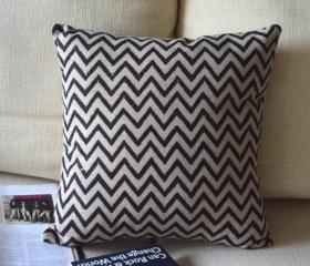 Black and White Print Decorative Pillow C-small waves