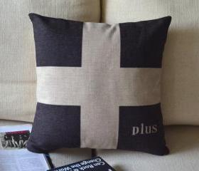 Black and White Print Decorative Pillow D-cross