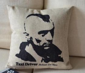 Taxi Driver Print Decorative Pillow