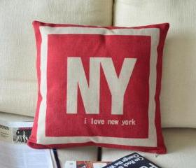 I Love NY Print Decorative Pillow