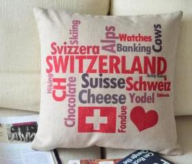 Love Switzerland Print Decorative Pillow