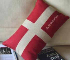 Switzerland Flag Print Decorative Pillow