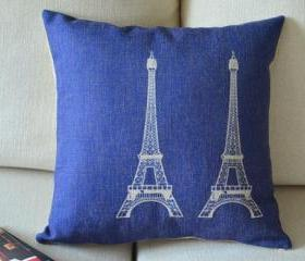 Eiffel Tower Print Blue Decorative Pillow