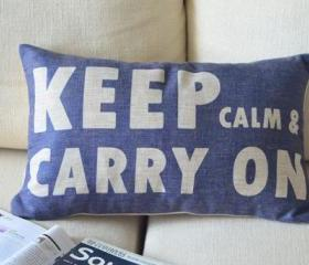 Keep Calm Print Blue Decorative Pillow