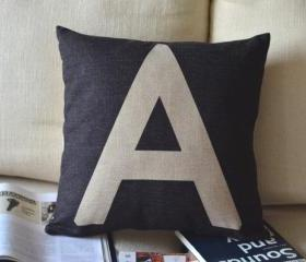 Alphabet Print Decorative Pillow(A)