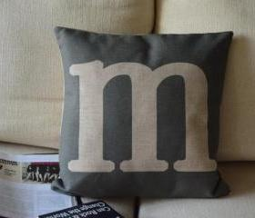 Alphabet Print Decorative Pillow(M)