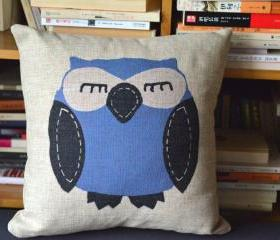 Owls Print Decorative Pillow (A)