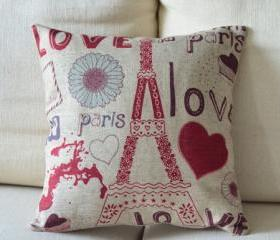 Paris Love Print Decorative Pillow