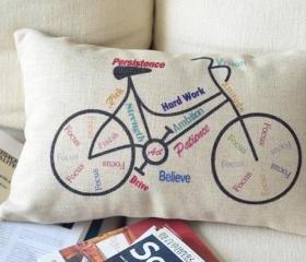 Bike Print Decorative Pillow