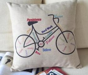 Bike Print Decorative Pillow (B)