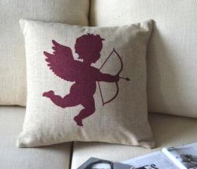 Cupid Print Decorative Pillow