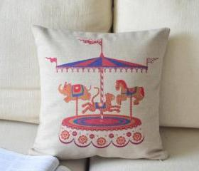 Merry-Go-Round Print Decorative Pillow