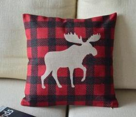 Elk Print Decorative Pillow(black and red)