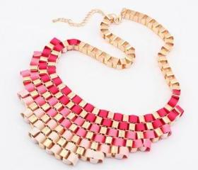 New bubble necklace,Pink red woven necklace, bubble necklace,bib necklace,bib Bubble Necklace,bridesmaid gifts