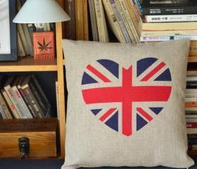 Flag Heart Print Decorative Pillow