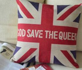 God Save The Queen Print Decorative Pillow