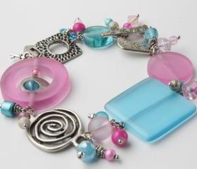 pink and blue charm bracelet - chunky bracelet