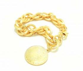 Matted Gold Chunky Chains Bracelet