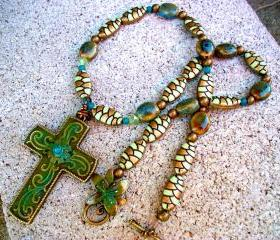 Green, Aqua, and Brass Necklace with Cross Pendant