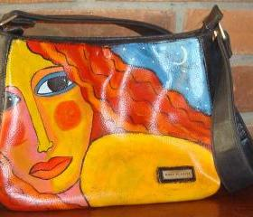 Hand Painted Handbag Shoulder Bag Purse Funky Abstract Portrait of a Woman