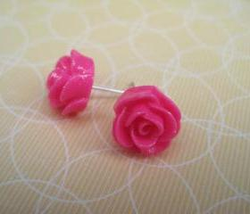 Hot Pink Flower Post Earrings