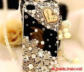 iphone 5 case , Bling Clear iphone 5 case crystal flower case, Vinage iphone 5G case, Pearl iphone 5 case Charm I Love You
