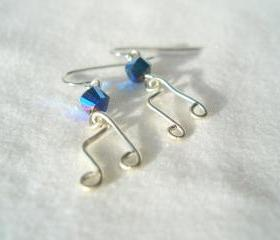 Music Note Earrings Wire Wrapped Eighth Silver Swarovski Crystal Black AB Hypoallergenic