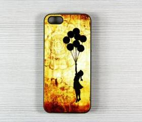 Vintage Banksy Girl iPhone 5 Hard Cover Case