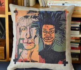 Basquiat Print Decorative Pillow B